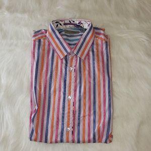 TED BAKER Men's Beauvor Shirt Striped Floral Sz 3